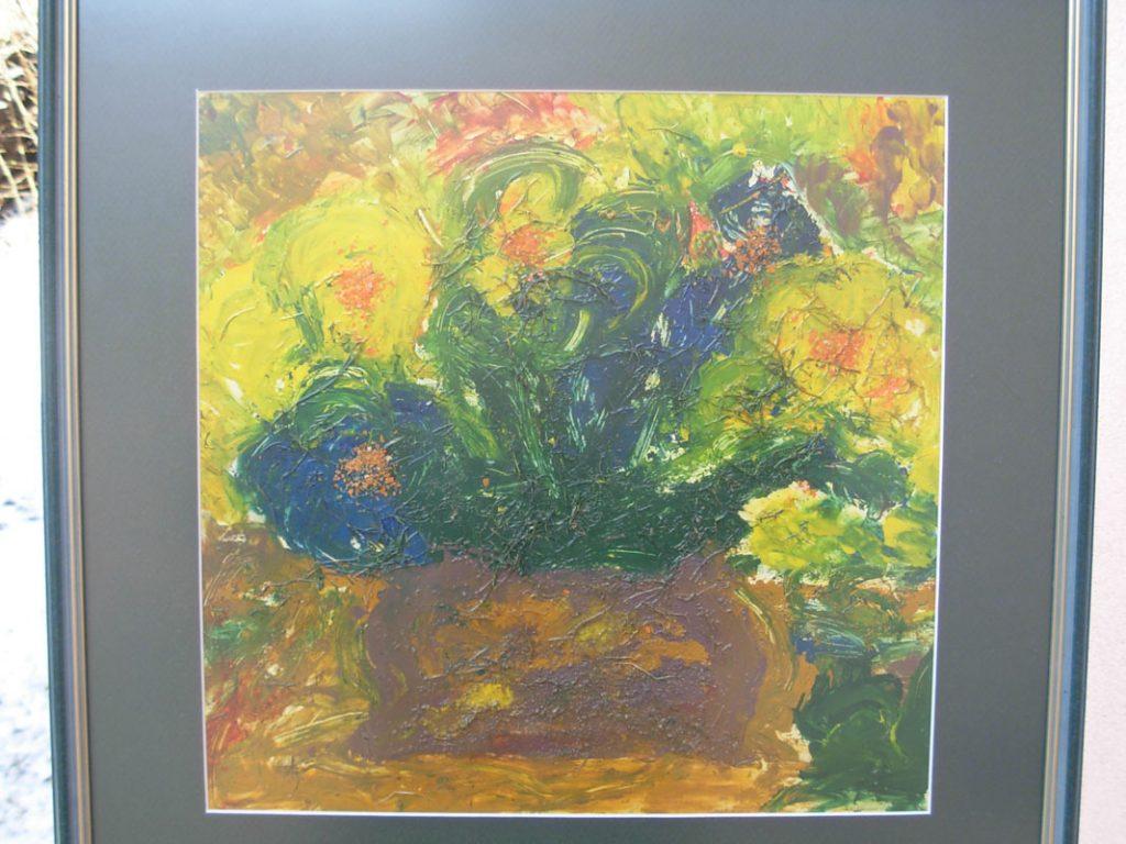 58x57(okvir) Vaza z rožami tesrol-drugi materiali-šeleshamer Blaž Janežič