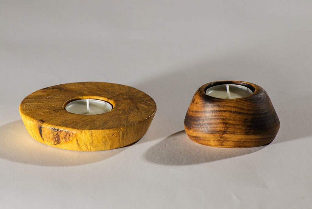 Blaž Janežič wood art tea light candle holder